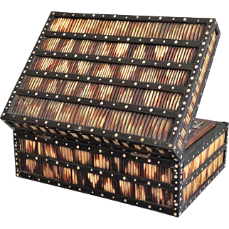 Antique British Colonial Porcupine Quill Box