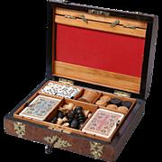 Antique English Walnut Games Box Compendium