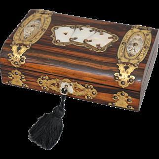 Antique Coromandel Games Box, Lock & Key