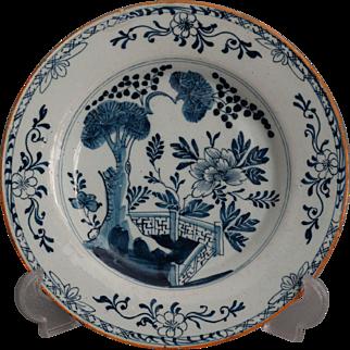 18th-Century Antique Dutch Delft Faience Plate, Chinoiserie, Hatchet Mark