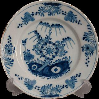 18th-Century Antique Dutch Delft Faience Chinoiserie Plate