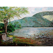 Glimmering Lake Side View Landscape Oil Painting, Signed Jane Ragbach