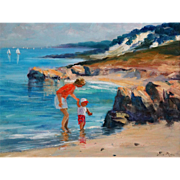Coastal Seascape Impressionism Oil Painting, Nino Pippa, Mother & Child