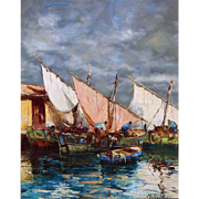 Impressionist Dock Scene Marine Oil Painting, Nautical