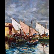 Impressionist Dock Scene Marine Oil Painting, Nautical