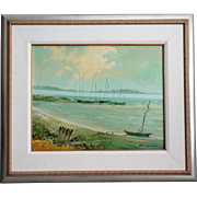 Sailboats Along the Coast Oil Painting, Nautical