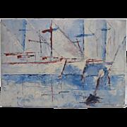 Sailboats Impressionism Impasto Nautical Oil Painting, Marine