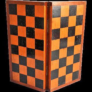 Antique English Chess & Checkers Games Box