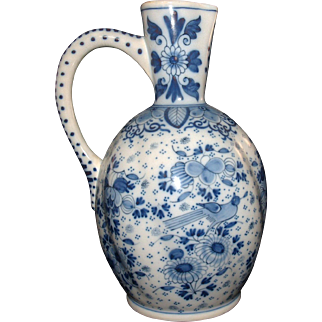 Antique Large Delft Pitcher with Birds / Ewer