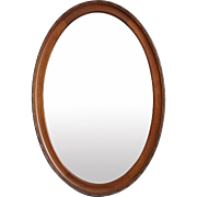 Antique English Oval Oak Beveled Wall Mirror