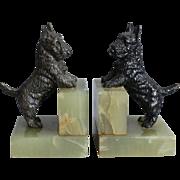 Art Deco Bronze & Marble Scottie Dog Bookends