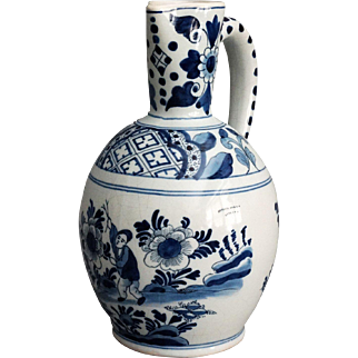 Antique Delft Chinoiserie Pitcher with Figure, Wine Jug, Ewer