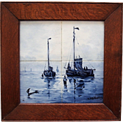 Antique Nautical Delft Tile Plaque, after Mesdag