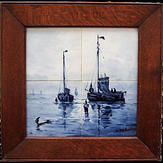 Antique Delft Tile Plaque after Mesdag