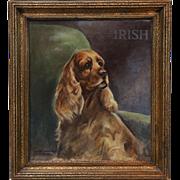 19th-Century Spaniel Dog 'Irish', English School Oil Painting