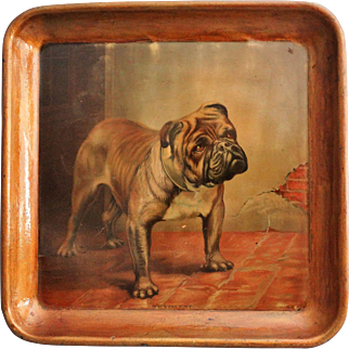 Antique St. Vincent Bulldog Lithography Serving Tray