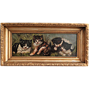 C. 1900 Kittens Portrait Oil on Canvas Painting