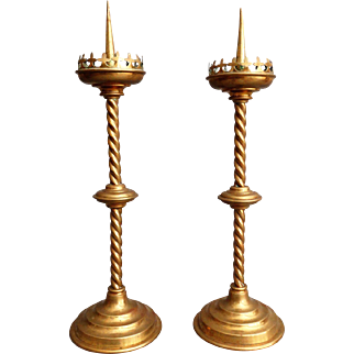Antique French Altar Candlesticks, Pair