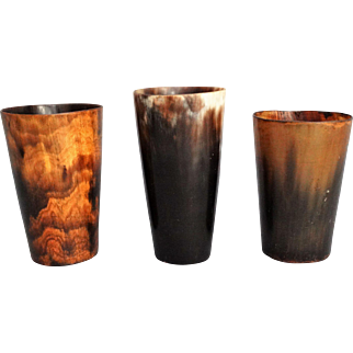 19th-C Horn Equestrian Stirrup Cups, Set of 3