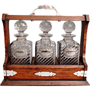 Antique English Liquor Tantalus Decanter Set, Lock & Key