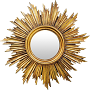 French Giltwood Sunburst Convex Mirror