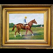 Racehorse Bon Mot Oil Painting on Canvas