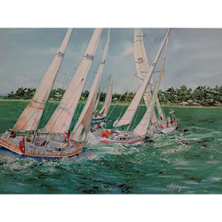 Sailboats Lithograph by Mary Ann Boysen, Signed & Numbered