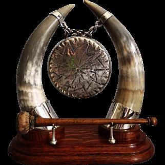 Circa 1910 English Silver & Oak Table Gong