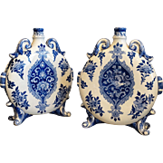 19th-C French Faience Gien Flasks, Pair