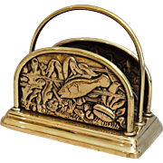 English Edwardian Brass Letter Rack Holder