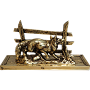 Circa 1930, English Brass Fox Letter Rack Holder