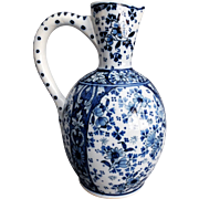 Early Chinoiserie Delft Wine Jug Ewer, Blue & White