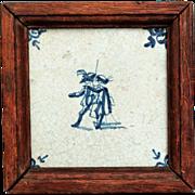 18th-Century Dutch Delft Cavaliers Tile