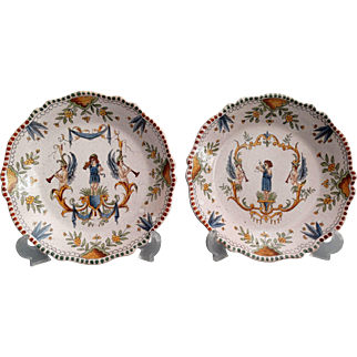Antique 19th-Century Moustiers French Faience Plates, Set of 2