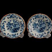 Antique 18th-Century Dutch Delft Faience Plates, Pair