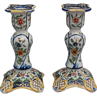 Antique French Faience Vases, Pair Hand Painted