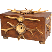 Antique English Gent's Oak Box with Stag Antler Decoration