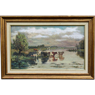 19th-C Cattle Oil Painting, H A Willenborg, Dutch