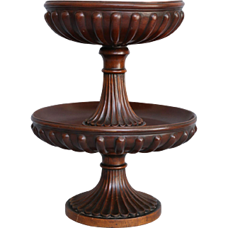 Antique English Two Tiered Rosewood Server