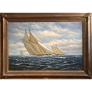 Racing Yachts Seascape Oil on Canvas, T Dyer
