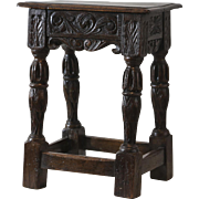18th-Century Antique English Oak Joint Stool