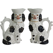 Staffordshire Spaniel Dog Pitchers, Pair