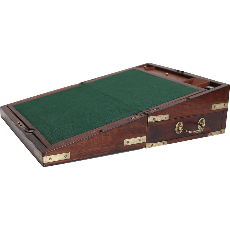Antique English Georgian Mahogany Campaign Writing Slope Box with Key from faded-rose-antiques ...