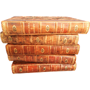 Decorative Leather Books Set of 5, Marble Boards, Swedish