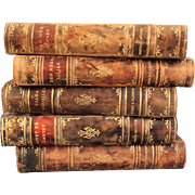 Decorative Leather Books, Set of 5, Marble Boards