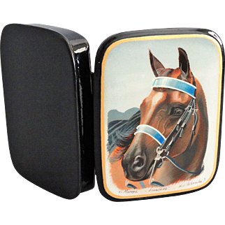 Lacquered Painted Equestrian Russian Box, Signed