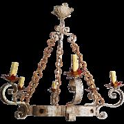 Antique Italian Iron & Told Chandelier
