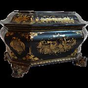 Antique 19th-C Chinoiserie Tea Caddy