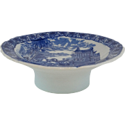 Staffordshire Compote Footed Plate Blue White, English