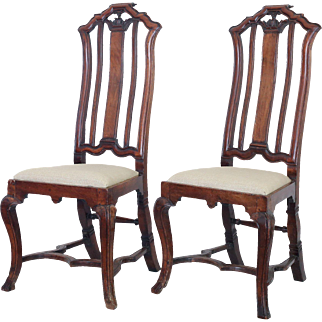 Antique Anglo Dutch Walnut Chairs, Pair